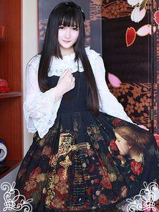 黒プリント シフォン ジャンパー スカート