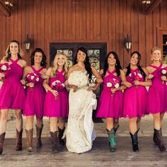 Color me pink! We love these hot pink bridesmaid dresses for this rustic, Texas wedding. {The Mill Photography Studio}