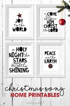 Make decorating for Christmas easy with these free diy Christmas Song Home Printables. Use just one or all 4 as part of your holiday home decor.