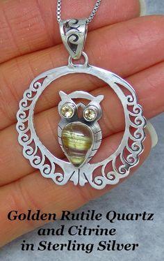 Golden Rutilated Quartz & Citrine Owl Necklace - Sterling Silver - Golden Rutile - P171506