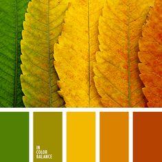 Está dedicada al otoño. El anaranjado, el rojo ladrillo, el verde y el amarillo crean una combinación de color armoniosa y natural. Viva y expresiva, esta paleta es una buena opción para salones-comedores y habitaciones infantiles.