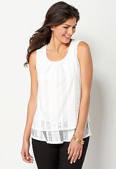 Pointelle Knit Tiered Tank, 9-0036190175, Pointelle Knit Tiered Tank Main View PGP