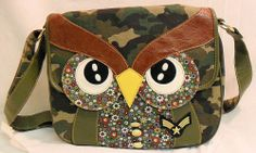 Large Camouflage Purse Green Tan Black Camo Owl Floral Insert New