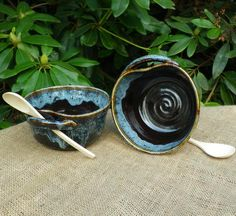 Soup or noodle bowls hand thrown in stoneware ceramic pottery