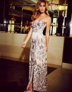 Lipsy V I P Embellished Bandeau Printed Maxi Dress