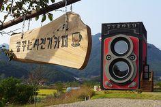 Giant Vintage Camera Café in South Korea Giant Vintage, Vintage Cafe, Twin Lens Reflex Camera, Rolleiflex Camera, Cafe Sign, Unique Buildings, Adventure Activities, South Korea, Amazing Photography