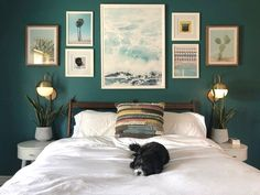 In this article, we have compiled the beautiful decoration examples for Dark Green Bedroom Walls. Be inspired by styles, trends & decorating advice to make your home a place where everyone admiring. Green Bedroom Walls, Green Accent Walls, Accent Wall Colors, Green Bedroom Colors, Green Master Bedroom, Best Color For Bedroom, Wall Colors For Bedroom, Colors For Bedrooms, Teal Master Bedroom