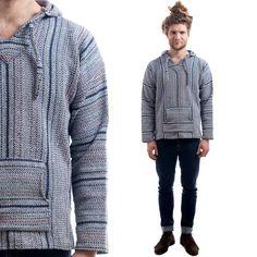 Mens Vintage Southwestern / Aztec Print Hoodie Sweater / Pullover ...