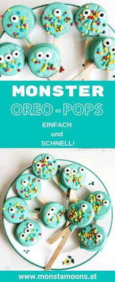 Monster Oreo-Pops für die Kinderparty oder Halloween Oreo-Pops, Monster-Pops, Halloween Treats, Süßes für Halloween, Monsterparty, Monstamoons, Kinderparty