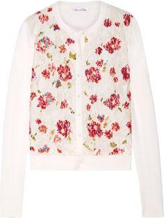 Oscar de la Renta - Embellished Lace-paneled Wool And Silk-blend Cardigan - Cream