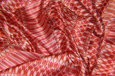 Silk fabric - red stripe digital print