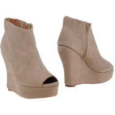 Jeffrey Campbell Ankle Boots ($78) ❤ liked on Polyvore featuring shoes, boots, ankle booties, beige, open toe bootie, jeffrey campbell booties, beige wedge booties, wedge ankle booties and leather boots