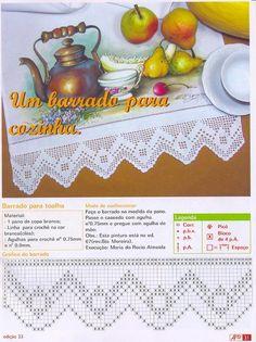 Crochet Border Patterns, Crochet Lace Edging, Crochet Motifs, Crochet Chart, Crochet Dollies, Crochet Towel, Hand Crochet, Knit Crochet, Fillet Crochet