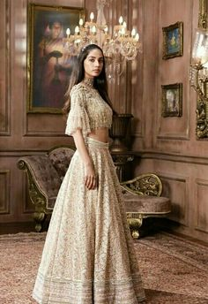 // La Belle Époque // The period's romanticism and transformational facet is synonymous with my design philosophy. Indian Wedding Gowns, Asian Wedding Dress, Indian Dresses, Indian Outfits, Pakistani Dresses, Pakistani Bridal, Indian Bridal, Designer Bridal Lehenga, Lehenga Style