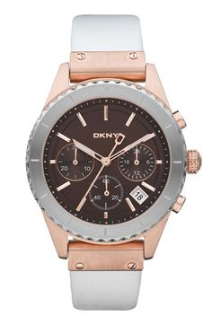 DKNY 'Street Smart' Chronograph Leather Strap Watch