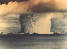 Atomic cloud rises during the 'Baker Day' blast at Bikini Island in the Pacific, on July 25, 1946.