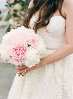 Wedding Bouquets : Picture Description White and blush peonies: www. Gorgeous Wedding Dress, Dream Wedding, Wedding Day, Wedding Stuff, Pink Bouquet, Bridesmaid Bouquet, White Wedding Bouquets, Wedding Flowers, Bridal Bouquets