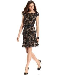 SL Fashions Cap-Sleeve Floral-Lace Dress