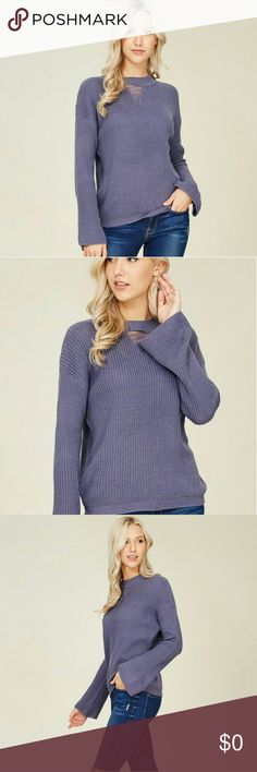 NEW ARRIVAL Dusty purple long bell sleeve sweater, high neckline,  distressed front keyhole, polyester,  cotton knit  material, medium weight sweater.  One size fits most- B- 40 inches, L- 23 inches Tops Blouses