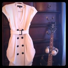 A gorgeous Nanette Lepore  dress Dress, [NANETTE LEPORE ].                                 -gorgeous (looking/feeling) cream-lined material with breasted black buttons. Black buckle, & cream sash for perfectly tailored waist-line. [GREAT condition!] Nanette Lepore Dresses