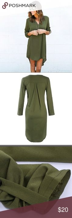 Army Green Dress Army Green Dress Polyester and Chiffon  Sleeve Buttons Tunic Style Dresses Long Sleeve