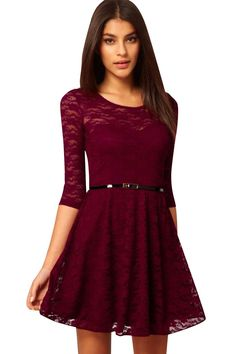 Azbro Women's Charming Lace Lining Three Quarter Sleeve Belted Dress
