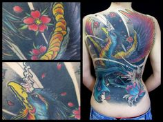#tattoo #oriental #fullcolor #black #back #piece #espalda #brian #mead #madrid #tatuaje #fenix #flower #flor #girl #cerezo #blossom #cherry #pink #blue #cute #phenix #phoenix