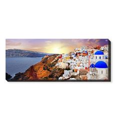 Sunset in Santorini Greece Canvas Print, None, Single piece, 10 x 24 inches