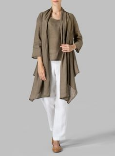 Taupe Brown Linen Long Shawl-Collar Over Jacket Set