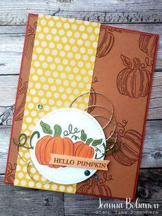 Hello Pumpkin Card by Jeanna Bohanon Pumpkin Images, Stampin Up Paper Pumpkin, Cute Pumpkin, Pumpkin Ideas, Pumpkin Cards, Thanksgiving Cards, Fall Cards, Card Maker, Halloween Cards