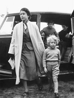 Photographic Print: Princess Anne at Four Years Old Arriving with Queen Elizabeth at a Horse Show May 1955 : 24x18in