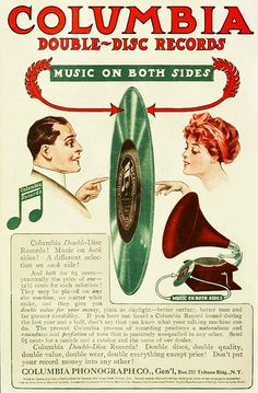 Columbia Double-Disc Records ad, 1910. #vintage #Edwardian #music #ads