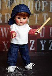"*GaMeDaY* 3 PC Set for 7.5"" Vogue Ginny Boy DoLLs. Cute shirt with red and white sleeves, jeans, and hand crafted hat for you cute boy doll. One set in stock now. Click on pix to take you where to purchase. www.karmelapples.com"