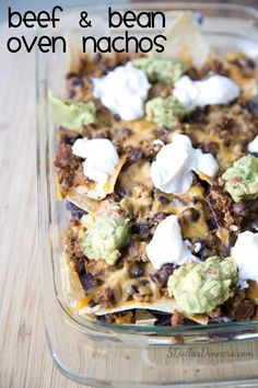 Beef and Bean Oven Nachos Recipe on 5DollarDinners.com