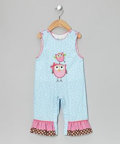 Take a look at this Light Blue & Pink Owl Overalls - Infant on zulily today!