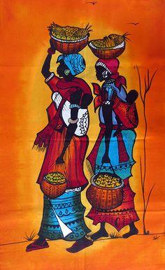 Batik9 African Wall Art, African Art Paintings, Afrique Art, Art Drawings For Kids, Spirited Art, Madhubani Painting, African American Art, Tribal Art, Indian Art