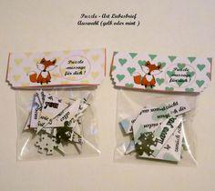 Liebe Puzzle Liebesbrief  Tütenzauber - AUSWAHL  von ღKreawusel-Designღ auf DaWanda.com