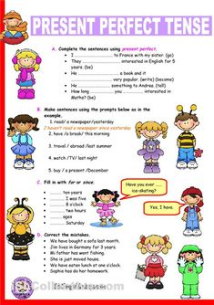 present perfect tense exercises for kids