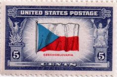 US postage stamp, 5 cents. Czechoslovakia.  Issued 1943.  Scott catalog 910.