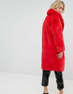 5e118656510 Mango Faux Fur Coat - Red Red Faux Fur Coat, Outdoor Coats, Tailored Jacket