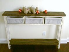 Dyi narrow console table with baskets