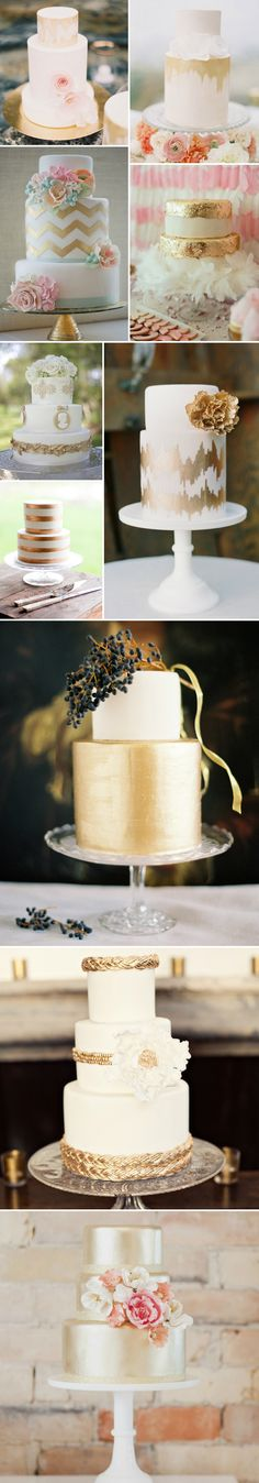 Different ideas for golden cakes - would also be great in white and silver!