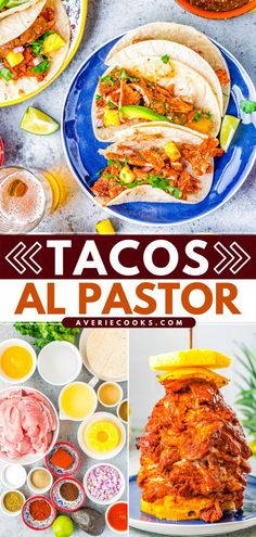 Learn how to make Tacos Al Pastor at home! Marinated in pineapple sauce, the pork is so tender, juicy, and flavorful. Serve this easy main dish in tortillas with your choice of toppings for a dinner idea you'll want to enjoy on repeat! Beef Recipes For Dinner, Entree Recipes, Delicious Dinner Recipes, Pork Recipes, Mexican Food Recipes, Appetizer Recipes, Easy Recipes, Ethnic Recipes, Tacos Al Pastor Recipe