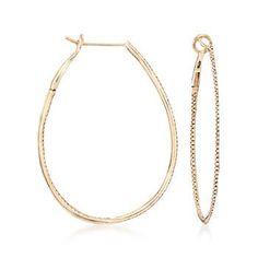 """Ross-Simons - .42 ct. t.w. Diamond Inside-Outside Hoop Earrings in 14kt Yellow Gold. 1 5/8"""" - #860215"""