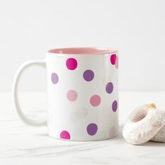 FUN CONFETTI SPOTS cute fun retro purple pink gold Two-Tone Coffee Mug - quote pun meme quotes diy custom