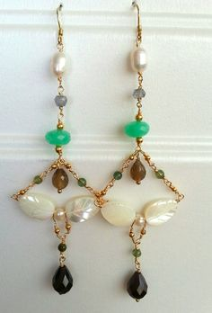 Semiprecious stones, Gold Filled, unique