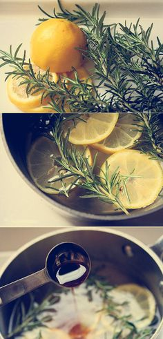Simply combine few slices of lemon, a sprig of  rosemary and vanilla in a pot on the stove, bring them to a boil, and then lower the heat to a simmer. They will immediately begin to scent your kitchen and spread to other rooms.