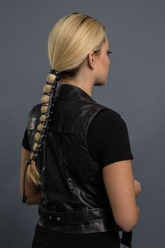 - Genuine leather ponytail holder - Laced-up style