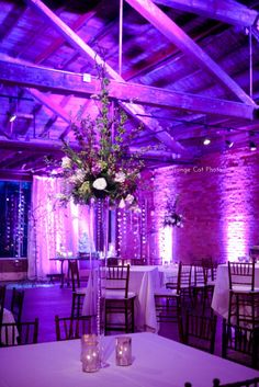 reception decor uplighting