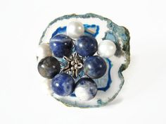 blue sodalite brooch, handmade beaded semi precious gemstone pin scarfjewel of transparant agate geode, sodalite, pearls and Thai silver - pinned by pin4etsy.com